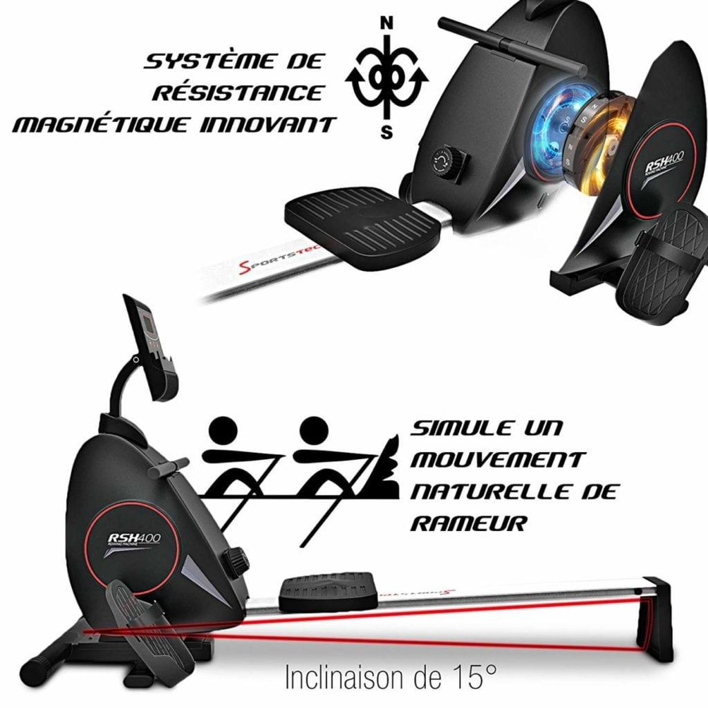 résistance magnétique du rameur Sportstech RSX400